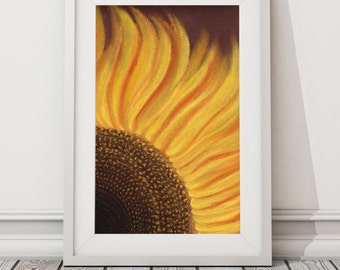 Sun Flower Print from Pastel Drawing