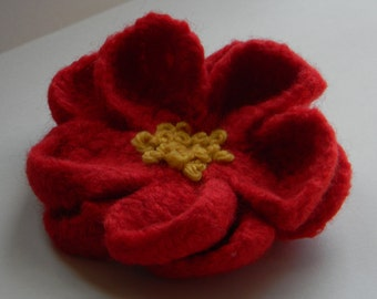 Red Flower Pin hand crocheted wool felted--yellow French knots--4 in. wide--brooch for coat, jacket, dress, hat, or tote