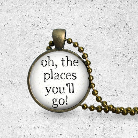 Oh The Places You'll Go, Senior Gifts, Necklace Pendant, Pearl, Jewelry Gift, Paper Airplane, Dr Suess Quotes, Inspirational Quote, Bronze