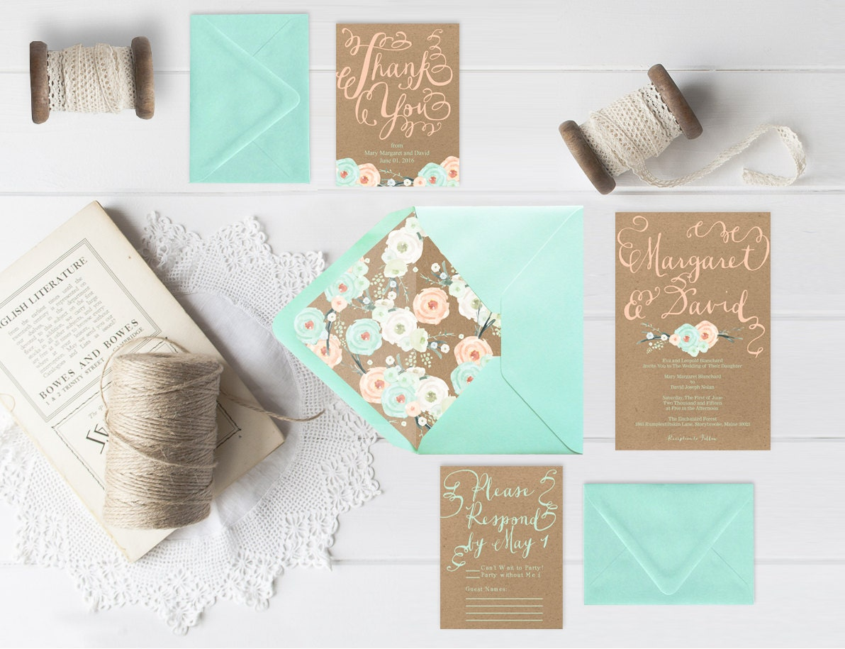 mint wedding invitations kraft wedding invitations w mint amp flowers with rsvp 5958