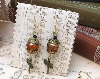 Dragonfly Lampwork Drop Earrings