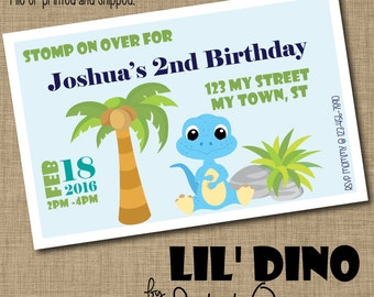 Custom Lil' Dino Invitations - Printed or Printable