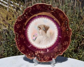 Antique 1800s Z.S. & Co. Bavaria Portrait Gold Trim Pierced Woman Rose Burgundy Plate