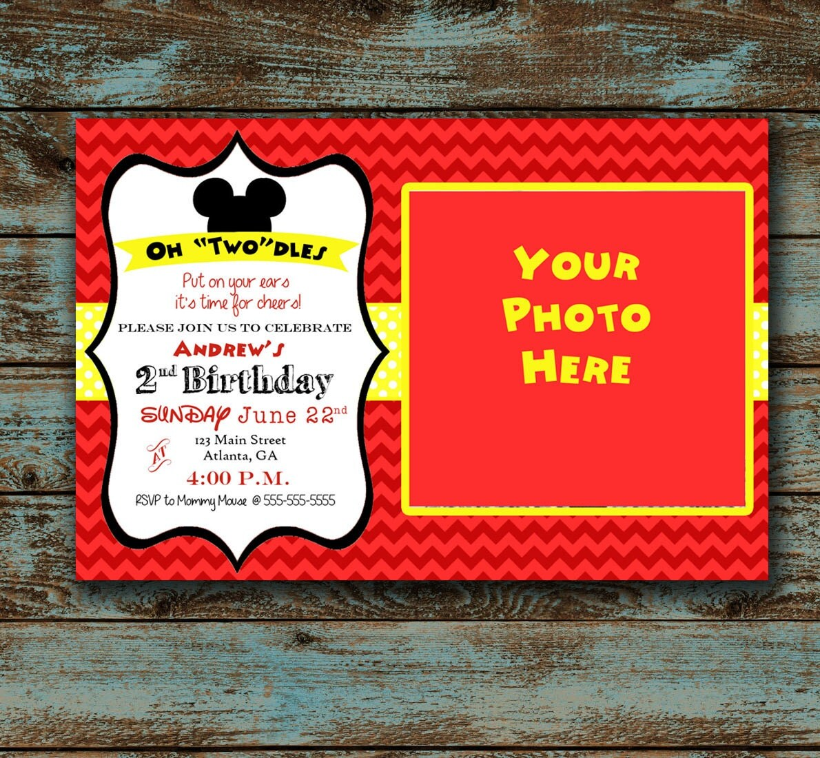 Mickey Mouse 2nd birthday invitation template ...