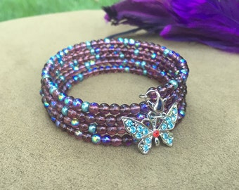 SALE - Beaded Bracelet, Memory Wire Bracelet, Wrapped Bracelet, Handmade Jewelry, Wrap Bracelet, Cuff Bracelet, Glass Seed Beads