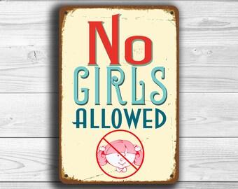 NO GIRLS ALLOWED Sign, No Girls Allowed Signs, Vintage style No Girls Allowed Sign, No Girls Allowed, Boys Room Sign, Boys Room Decor