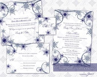 Printable Wedding Invitation Template Set | DIY Printable Invitation Suite (4.5 x 6.5) | Digital Download | Snowfall in Navy & Pacific
