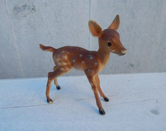 Tiny Celluloid Plastic Deer Fawn - Mid Century Woodland Deer - Plastic Fawn - Collectible Fawn with Spots - Christmas Deer