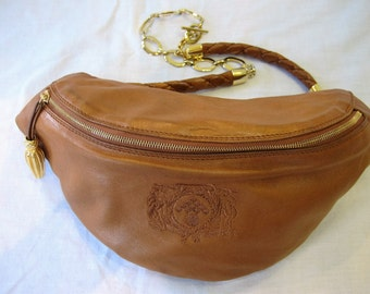 Authentic Vintage Bottega Veneta British Tan Butter Leather Fanny Pack with Gold Tone Hardware