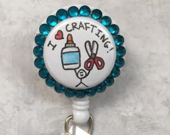 I Love Crafting - Teal Badge Reel  -  Alligator Swivel Pinch Clip – Nursing Badge Clip - Teachers - Professional