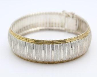 Milor Sterling Silver Bracelet Gold Accent Wide Mesh Cuff. [6502]