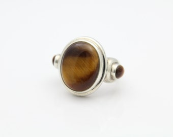 Unique Chunky Sterling 3 Stone Silver Tigers Eye Ring Sz 7. [6601]