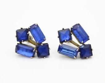 Vintage Dark Blue Rhinestone Screw-Back Earrings in Sterling Silver. [8075]