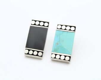 Sterling Silver Black Onyx and Turquoise Rectangle Shape Tribal Earrings. [8803]