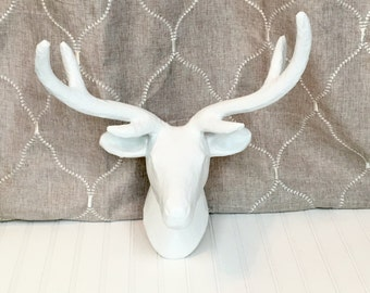 Paper Mache Deer Head-32 Colors/White Faux Taxidermy/SSLID0166/Paper Mache Deer/White Deer/Nursery/Animal Head/Wall Mount/Wall Decor/Antlers