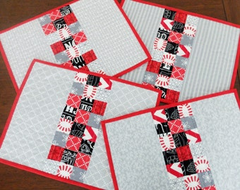 Quilted table decor, red & grey modern contemporary set of four patchwork quilted place mats