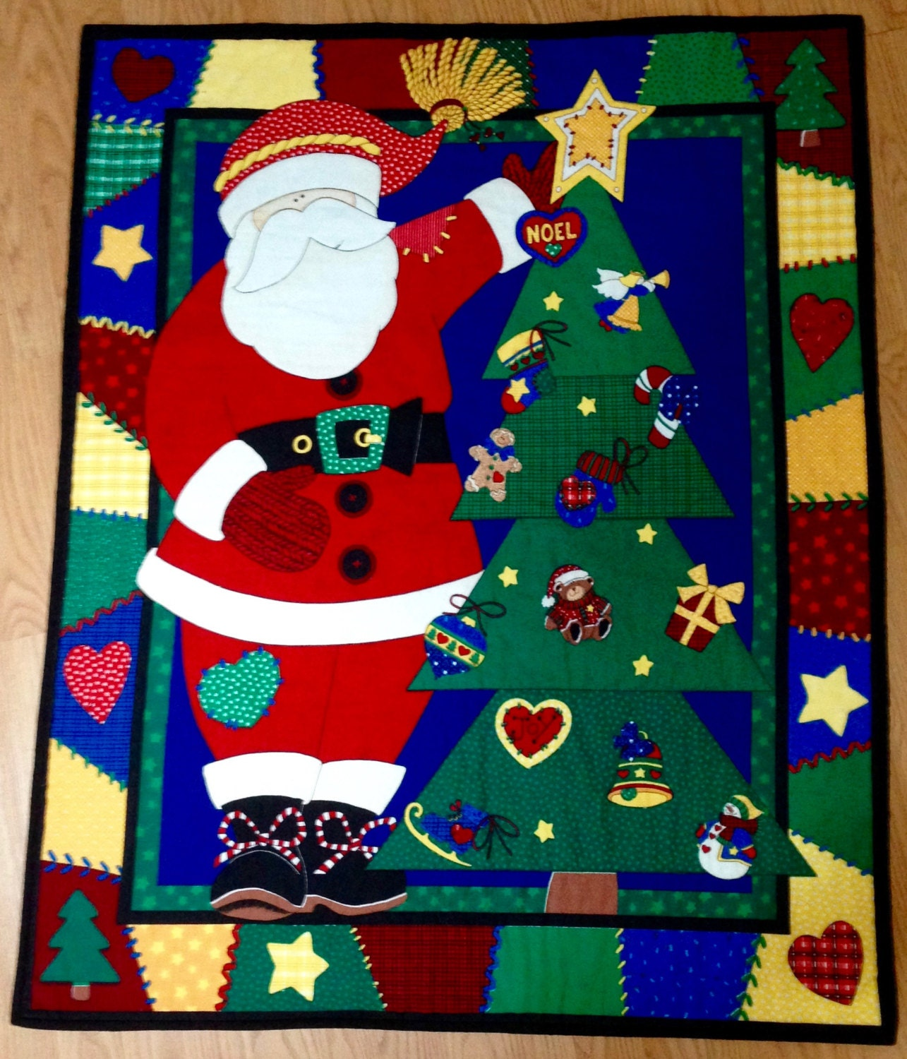 Christmas throw quilt preprinted panel with santa and