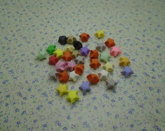 500pcs mixed color origami paper star pentagram bead charm , wishing lucky paper star bead charm , 15mm , CC2083