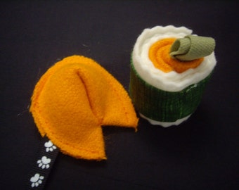 Sushi and Fortune Cookie Wool Catnip Toys