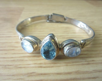 Blue Topaz, Moonstone Sterling Silver Hinged Bangle Bracelet
