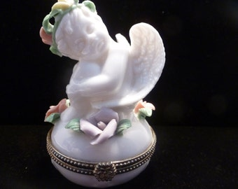 Vintage Hinged Ring Box-Angel with Pink Yellow Purple Flowers/Trinket Box/ Jewelry Box (#16003)