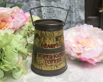 Adorable Antique Sharp's Toffee Tin Litho Box, Milk Churn, Super-Kreem can canister, parrot, Sir Kreemy Knut advertising, yellow, Nursery