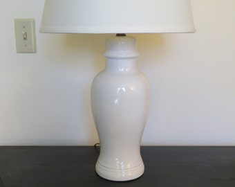 White Ginger Jar Table Lamp - Ceramic