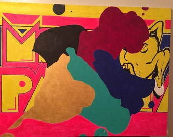 "Ms Pac & abstract ghosts 54"" x42"""