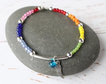 Rainbow beaded Memory Wire Bracelet/ Colourful beaded Wraparound Bangle/ Feather charm
