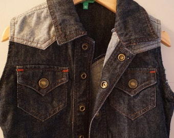 Toddler Benetton Western or Rockabilly jean vest for 2 or 3 year old