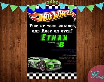Hot Wheels Car Birthday Invitation, Digital File, DIY Printing