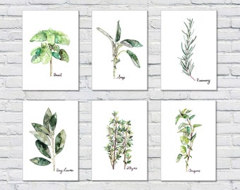 Herb Print Set of 6 - 5x7 Watercolor Prints, Herb Watercolors, Kitchen Decor, Botanical Print, Print Set, Herb Prints, Herb Painting, Herbs