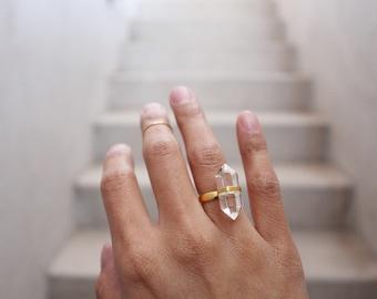 Gold Plated Quartz Ring