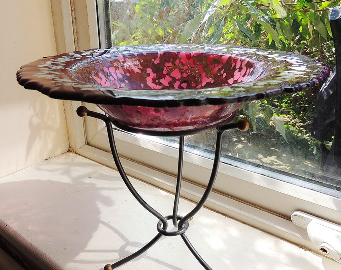 Round pink fused glass bird bath, floating candle holder on wrought iron stand, fruit dish. Decorative dish. Ornamental bowl. Wedding gift