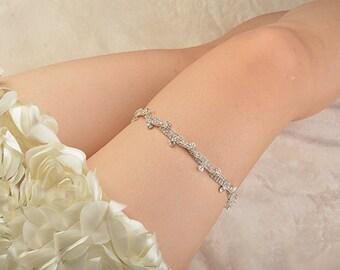 blue bridal garter, wedding garter, bride garter set, lace garter, something blue garter, rhinestone beaded floral garter