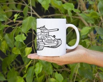 KillerBeeMoto:  U.S. Made Russian T34 Tank Design On White Coffee Mug