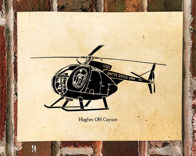 KillerBeeMoto: Limited Print Hughes OH Cayuse Helicopter Print 1 of 50