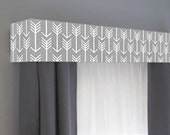Custom Cornice Board  Pelmet Box Window Treatment in Grey Arrow- Custom Curtain Topper in Modern Gray and White Fabric