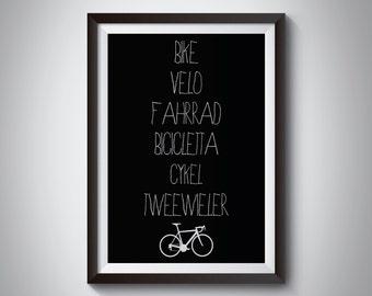 International Bike Cycling Digital Print A4 or A3