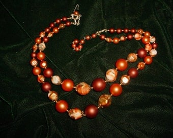 Vintage Copper and Peachy Beaded Necklace