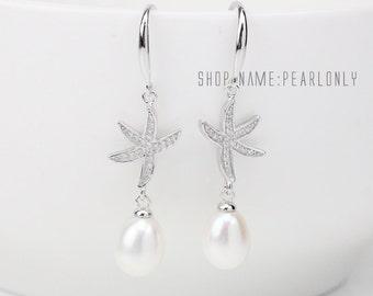 Bridesmaid pearl earrings,rhinestone starfish earrings,sterling silver 925 pearl earings,drop pearl earrings,crystal dangle earring pearl