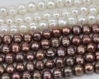 10mm brown pearl strand,freshwater potato pearl bead,near round pearls,large hole pearls,0.8mm,1.0mm,1.5mm,1.8mm,2.0mm,2.2mm,2.5mm,3.0mm