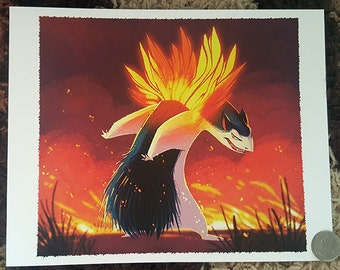 "8x10"" Pokemon typhlosion cyndaquil evolution battle fine art print"