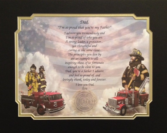 Items Similar To Firefighter Gift Print For Dad