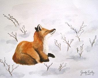 Fox in Snow Christmas Card