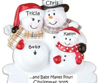 We're Expecting Ornament, Pregnant Snowman Ornament, Second Child Expecting Holiday Ornament