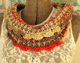 Handmade Crochet Cowl, Cream, Lavender, Lime, Coral, Collar, Scarflet, Lacy, Fiber Necklace