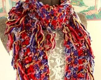 Red Purple Scarf Crochet Fringe Lightweight Ribbon Yarn Freeform Boa Wrap Boho Shawl