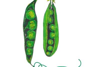 Peas in a Pod Illustration Print