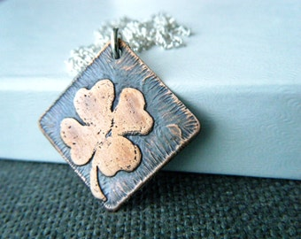 Four leaf clover necklace Shamrock necklace Etched clover copper pendant Clover jewelry Lucky shamrock pendant Textured copper necklace